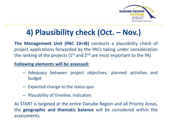 4) Plausibility check (Oct. – Nov.)