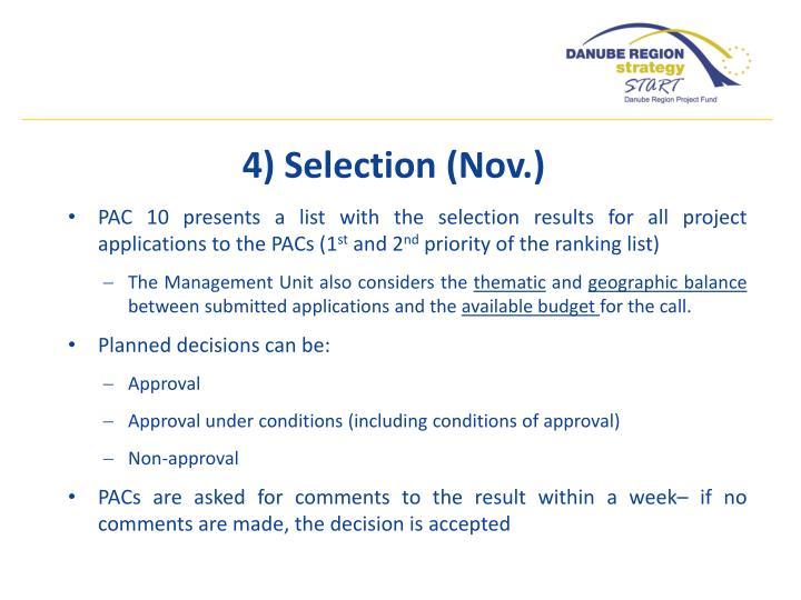 4) Selection (Nov.)
