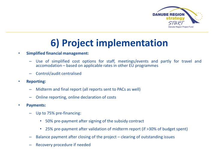 6) Project implementation