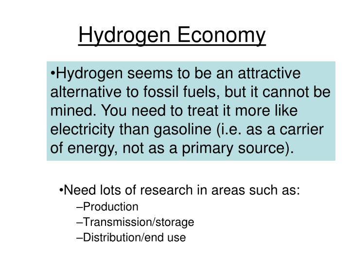 Hydrogen seems to be an attractive alternative to fossil fuels, but it cannot be mined. You need to treat it more like electricity than gasoline (i.e. as a carrier of energy, not as a primary source).