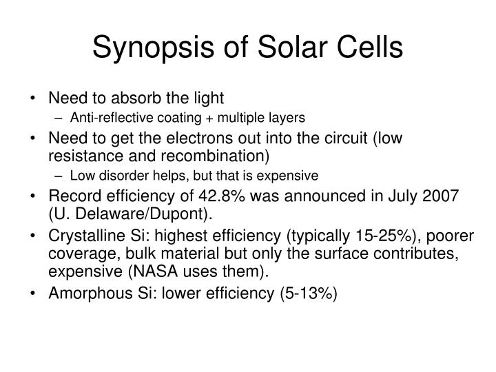 Synopsis of Solar Cells