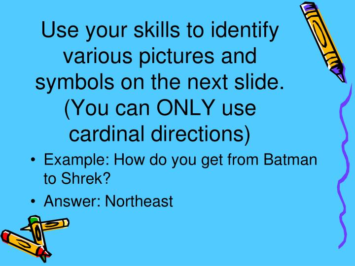 Use your skills to identify various pictures and symbols on the next slide.