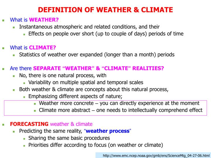 DEFINITION OF WEATHER & CLIMATE