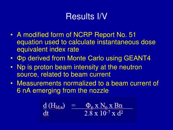 Results I/V