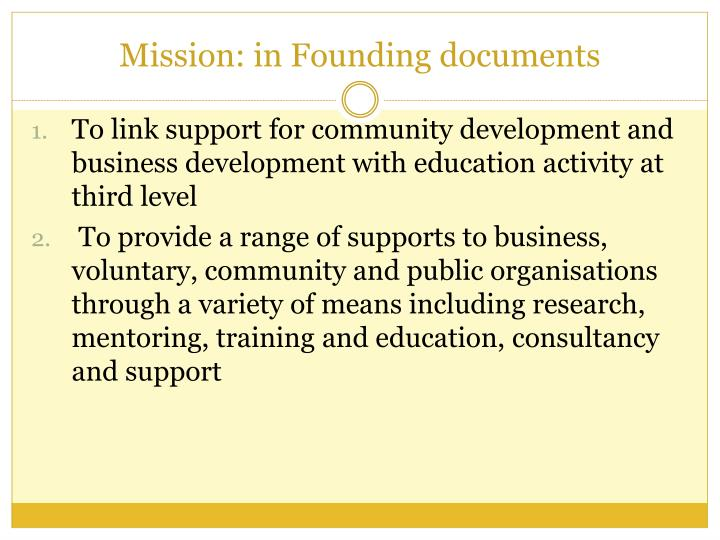 Mission in founding documents