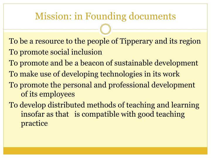 Mission: in Founding documents