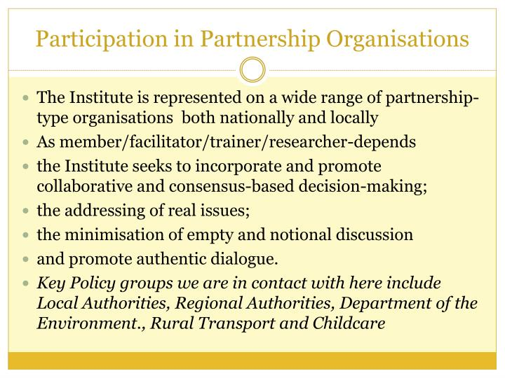 Participation in Partnership Organisations