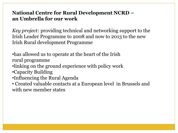 National Centre for Rural Development NCRD –