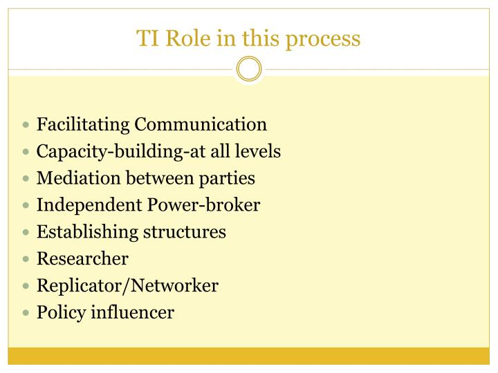 TI Role in this process
