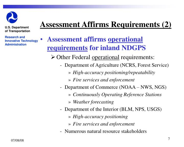 Assessment Affirms Requirements (2)