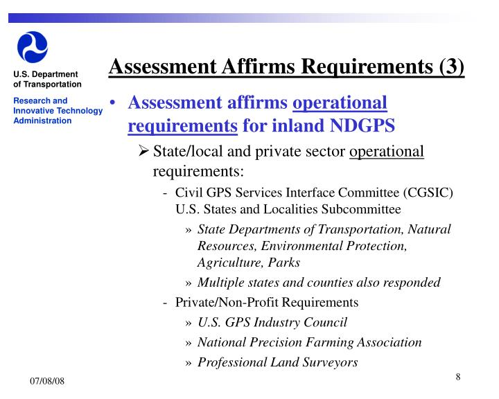 Assessment Affirms Requirements (3)