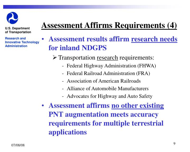 Assessment Affirms Requirements (4)
