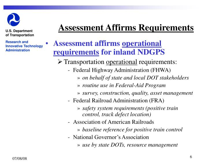 Assessment Affirms Requirements