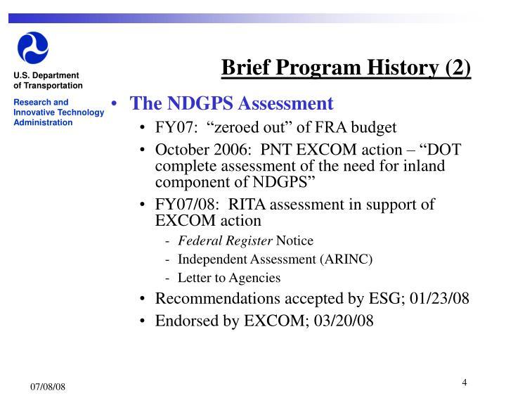 Brief Program History (2)