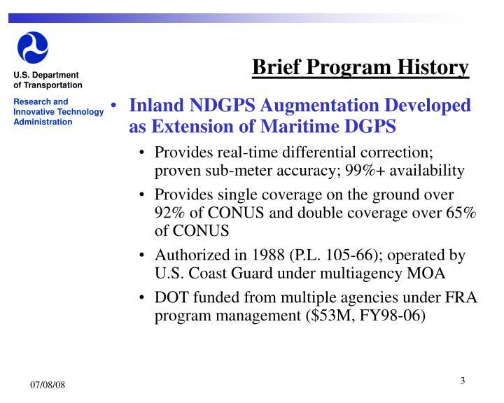 Brief Program History