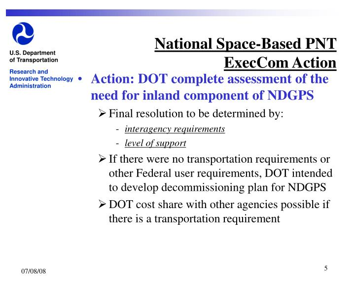National Space-Based PNT  ExecCom Action
