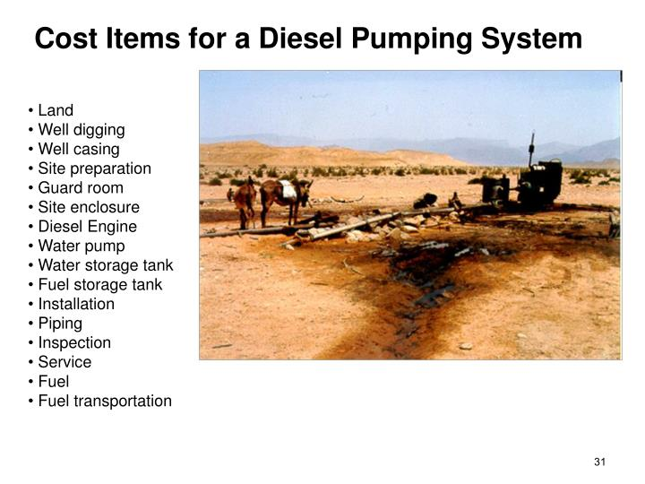 Cost Items for a Diesel Pumping System