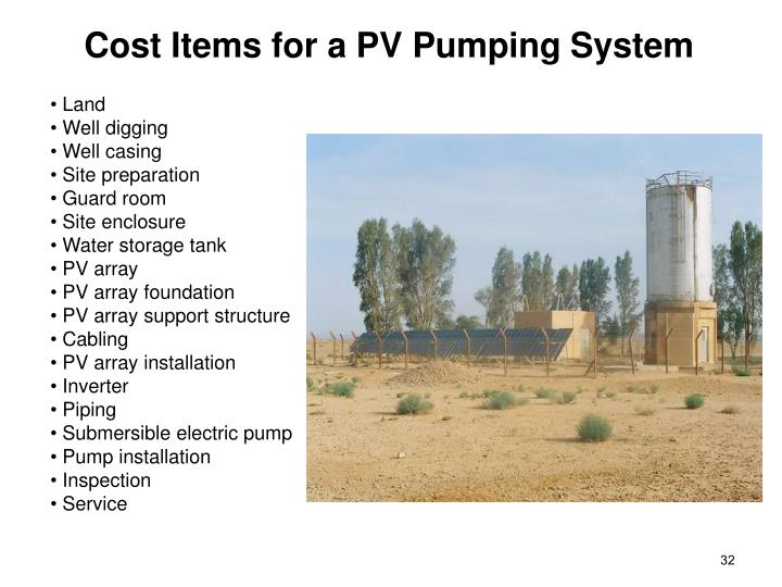 Cost Items for a PV Pumping System