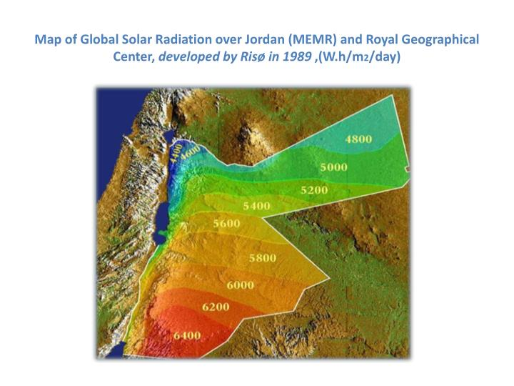 Map of Global Solar Radiation over Jordan (MEMR) and Royal Geographical Center,