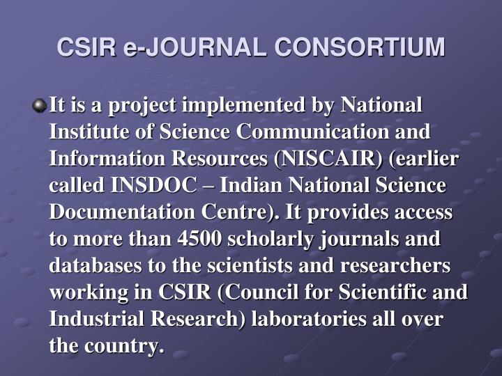 CSIR e-JOURNAL CONSORTIUM