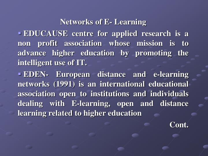 Networks of E- Learning