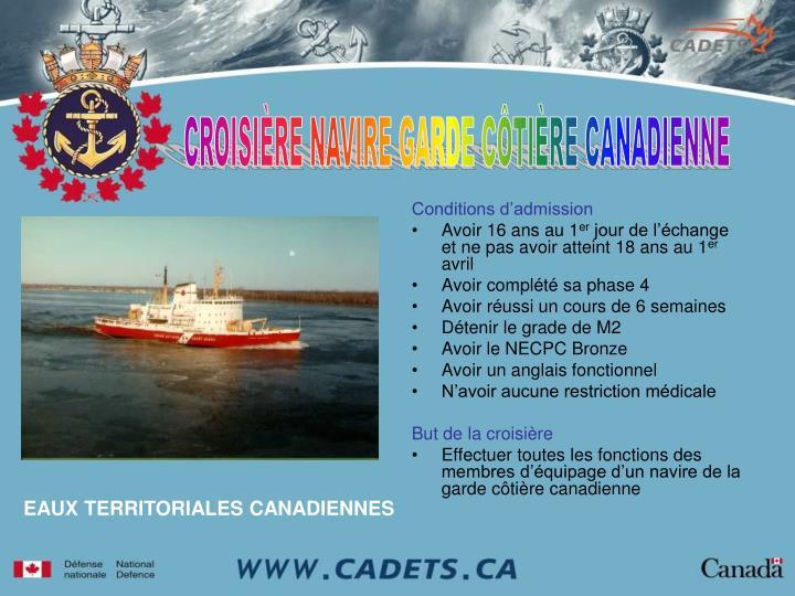 CROISIÈRE NAVIRE GARDE CÔTIÈRE CANADIENNE