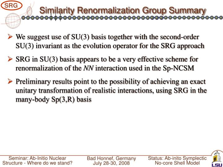 Similarity Renormalization Group Summary