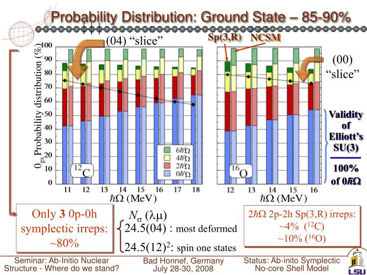 Probability Distribution: Ground State – 85-90%