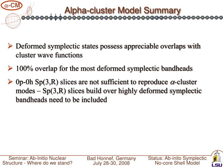 Alpha-cluster Model Summary