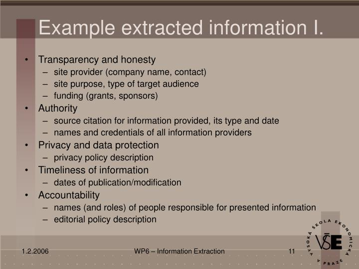 Example extracted information I.