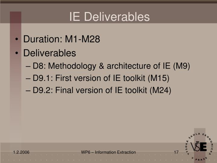 IE Deliverables