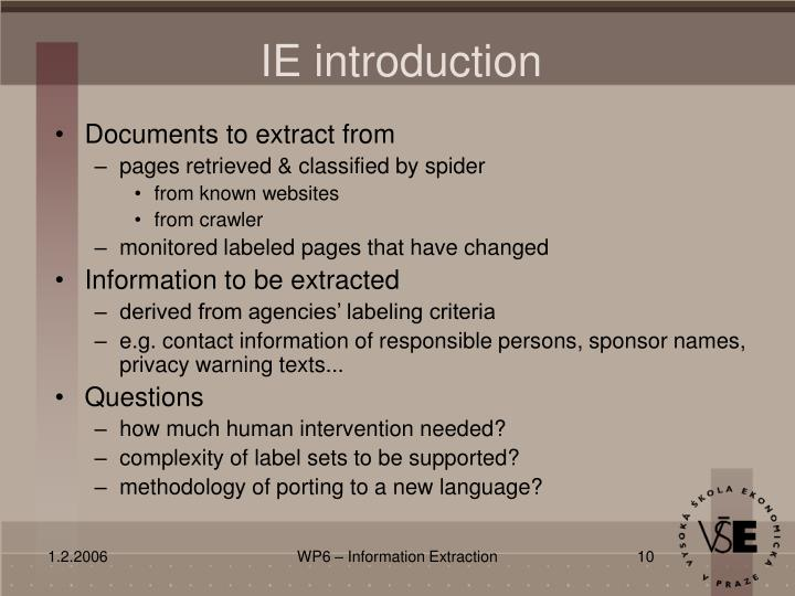 IE introduction