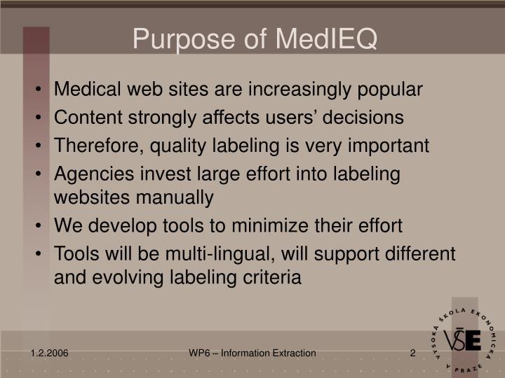 Purpose of MedIEQ