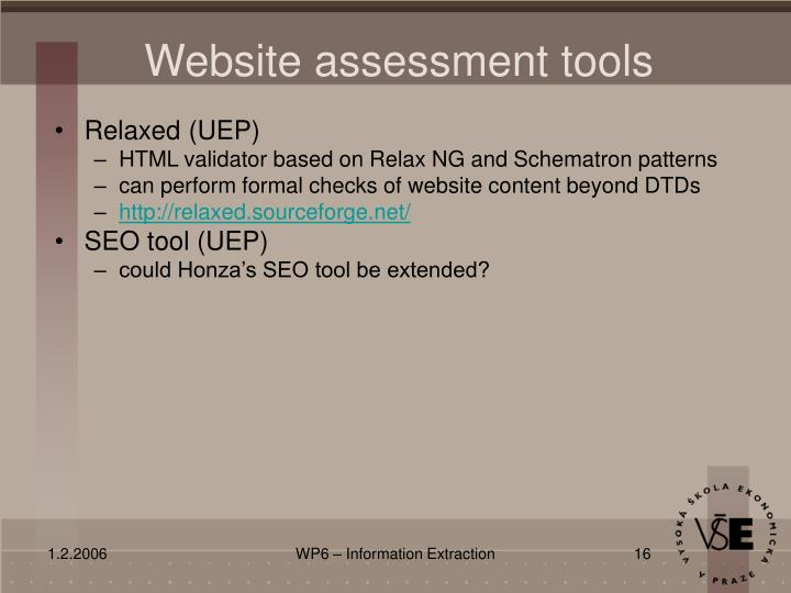 Website assessment tools