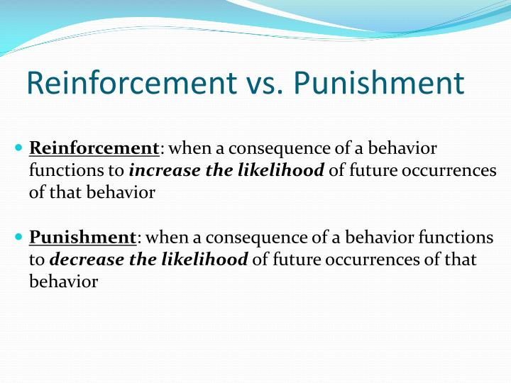 Reinforcement vs. Punishment