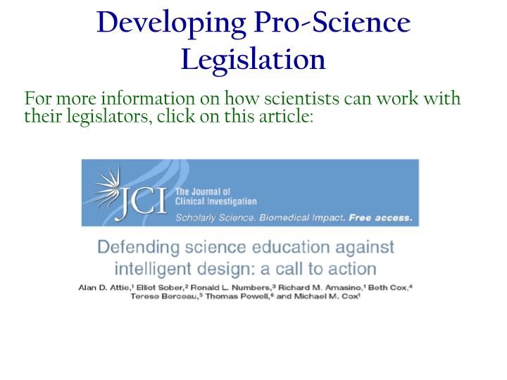 Developing Pro-Science Legislation