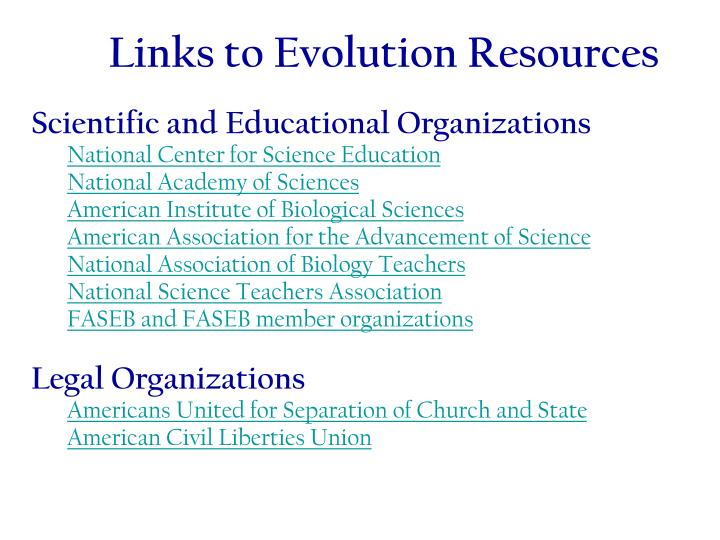 Links to Evolution Resources
