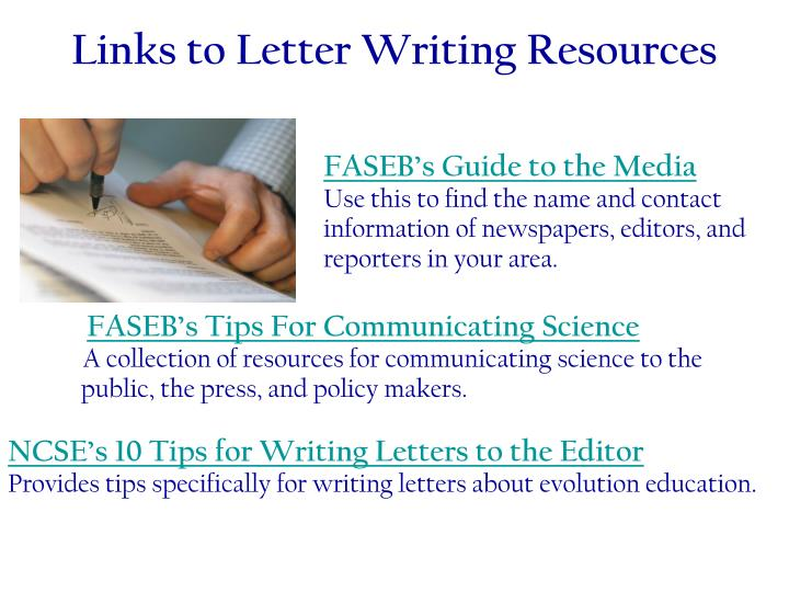 Links to Letter Writing Resources