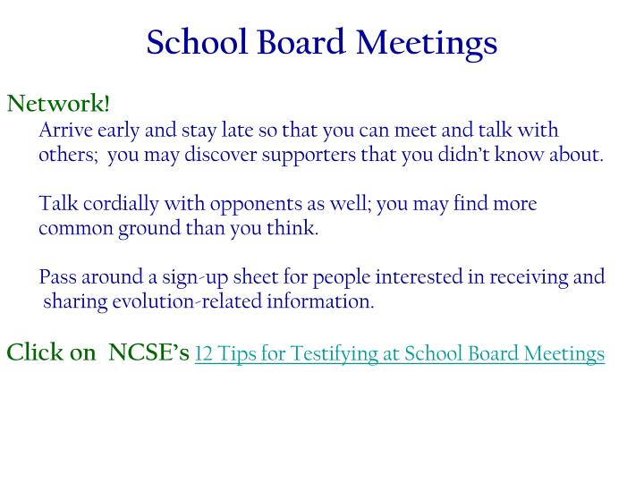 School Board Meetings