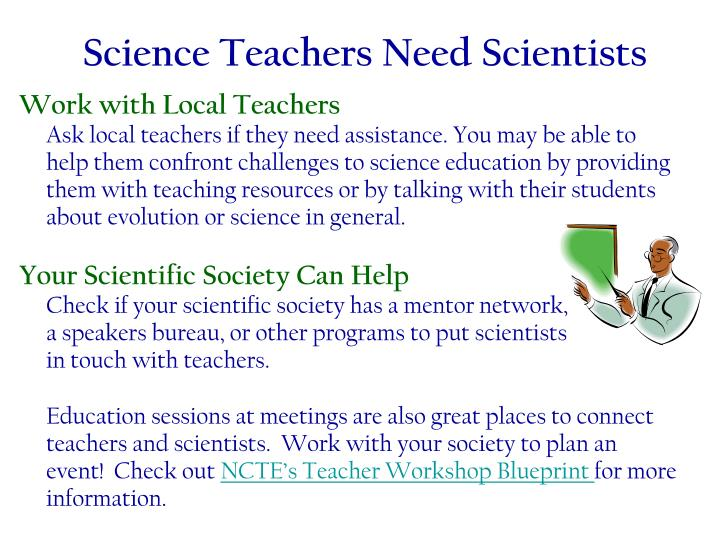 Science Teachers Need Scientists