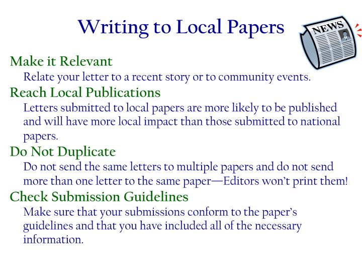 Writing to Local Papers