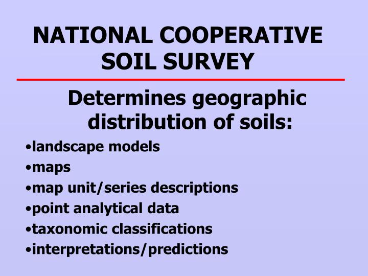 NATIONAL COOPERATIVE SOIL SURVEY