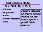 soil genesis model s f cl o r p t