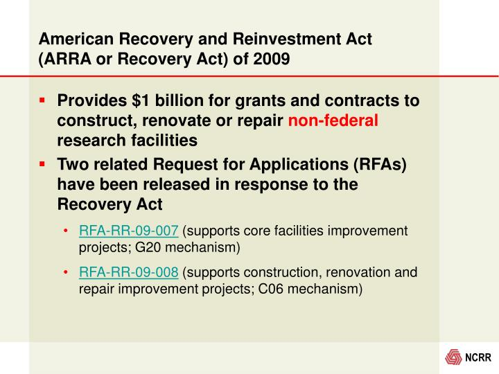 American Recovery and Reinvestment Act