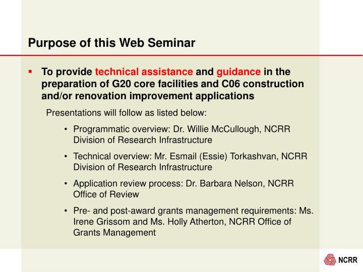 Purpose of this Web Seminar