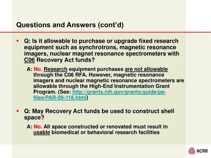 Questions and Answers (cont'd)