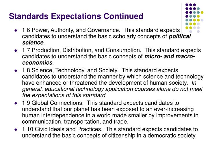 Standards Expectations Continued