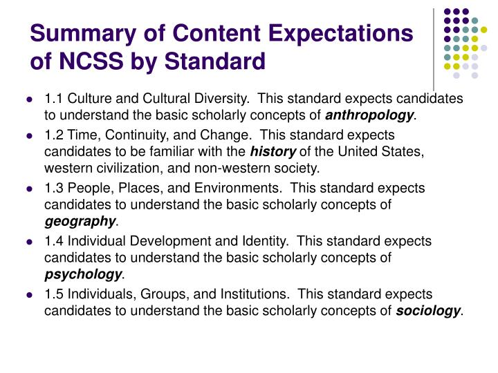 Summary of Content Expectations