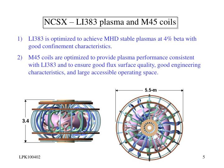 NCSX – LI383 plasma and M45 coils