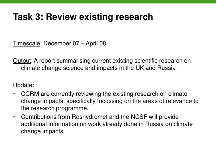 Task 3: Review existing research